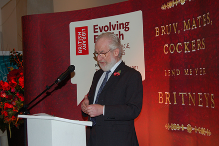David Crystal at the official opening of the exhibition