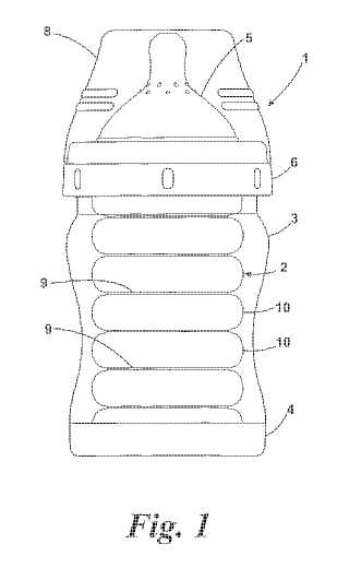 Nursing bottle patent drawing