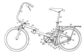 Brompton bicycle patent drawing