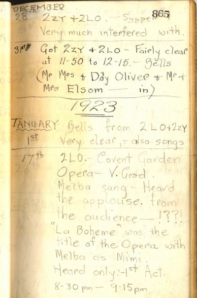 Alfred Taylor's Wireless Log page 6 detailing his record of 'listening-in' during December 1922 and January 1923.