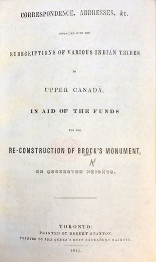 Subscriptions for Brock Monument (title sheet)