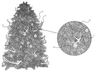 Christmas tree and antlers patent drawing