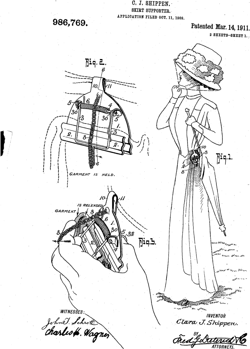 Skirt supporter US986769 patent drawing