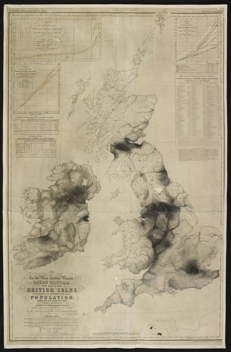 Augustus Petermanns population density map 1841 (credit British Library Board)