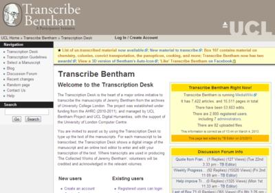 Transcribe Bentham - Transcription Desk