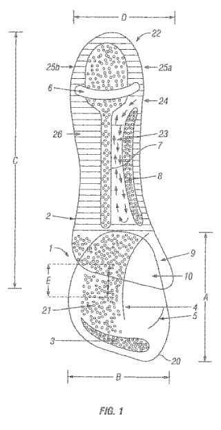 Itsoles foot cushioning patent drawing