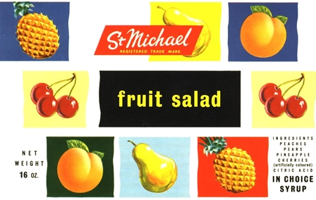 SMALL Fruit Salad Label 1950s