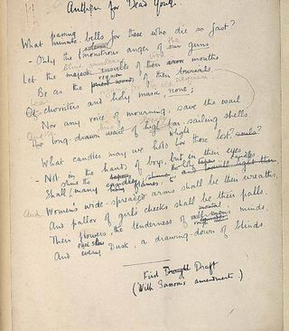 Wilfred Owen: draft of Anthem for Doomed Youth