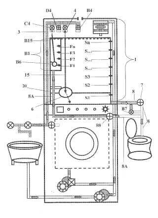 Electronic greywater reusing washing machine