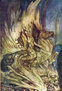 Final scene of Götterdämmerung, by Arthur Rackham