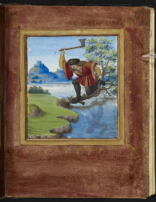 Miniature of a man cutting down a tree on which he sits (an illustration of the proverb: 'chopping down the branch that supports you'), from Pierre Sala's Petit Livre d'Amour, France (Paris and Lyon), 1st quarter of the 16th century, [Stowe MS 955, f. 15r](http://www.bl.uk/catalogues/illuminatedmanuscripts/record.asp?MSID=8452&CollID=21&NStart=955)