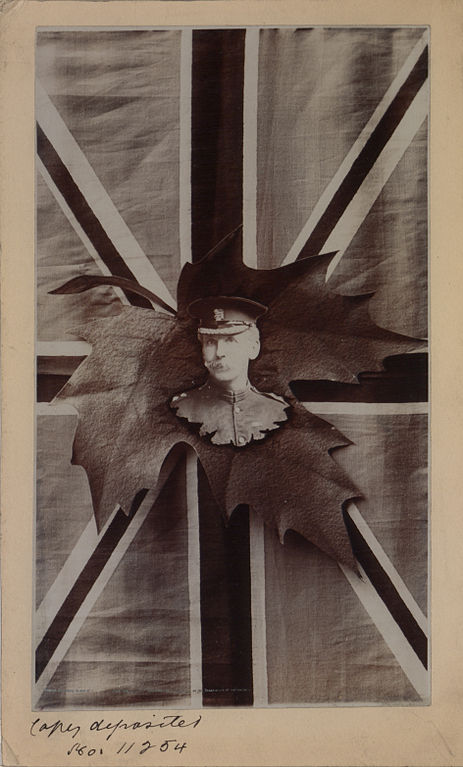 Likeness_on_maple_leaf_with_Union_Jack_as_background_(HS85-10-11254)