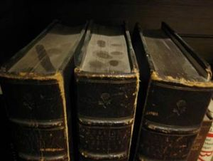 Dust layer on books