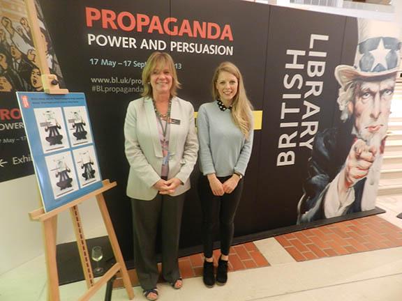 Propaganda design competition winner Olivia Twaites and British Library Curator Jude England
