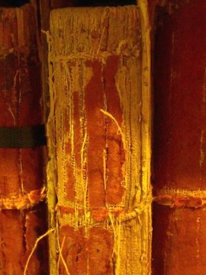 Degraded leather on spine