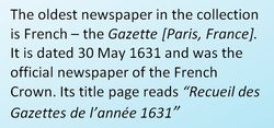 The oldest newspaper