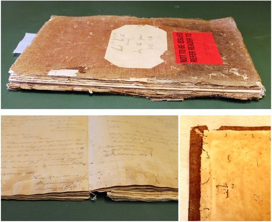 Heavily damaged manuscript
