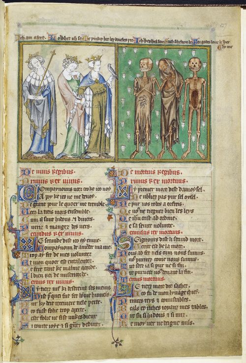 Miniature of the three living and the three dead from the de lisle