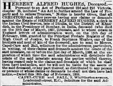 Hughes estate notice London Standard 1888