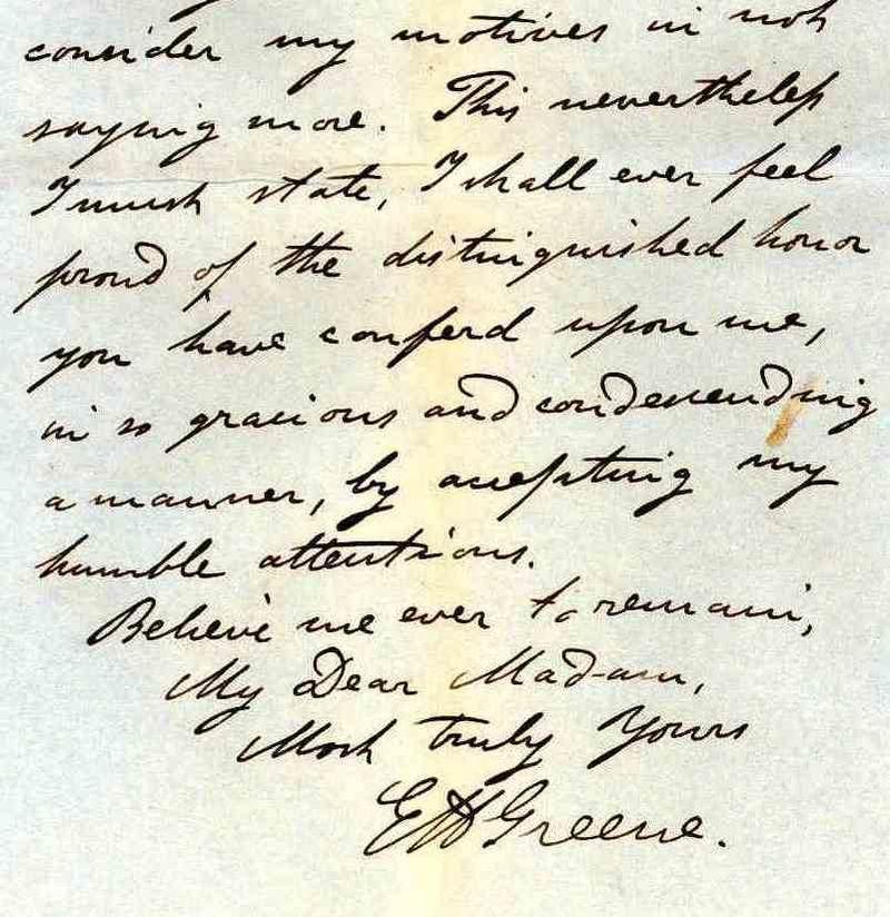 Burdett Coutts Greene letter