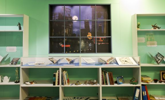 Newly commissioned artwork by Dave McKean inside an artist's studio in Comics Unmasked (c) Tony Antoniou (1)