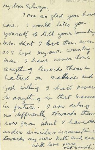 Elwin Gandhi-letter