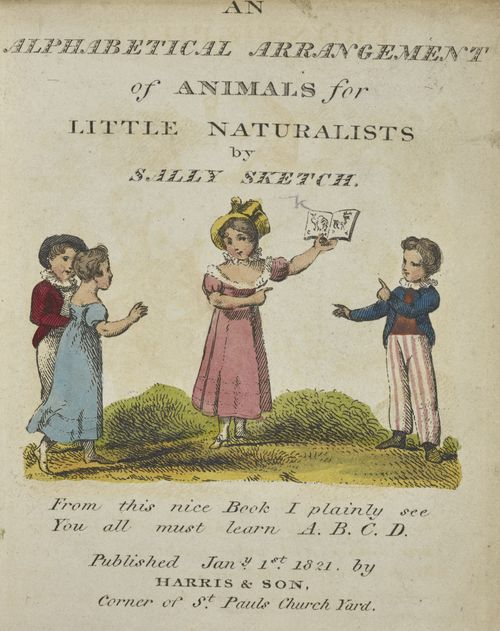 The title page from Sally Sketch's 1821 edition of 'An Alphabetical arrangement of animals for little naturalists' on display in Animal Tales at the British Library