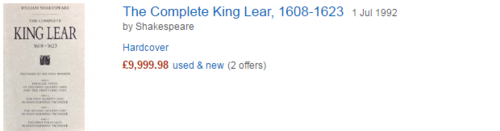 Amazon listing of The King Lear, 1608 -1623