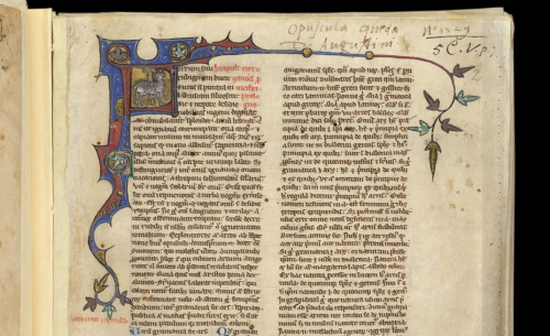 Opening of Corrogationes Promethei in Royal MS 5 C V, f. 2r, late 13th to early 14th century.