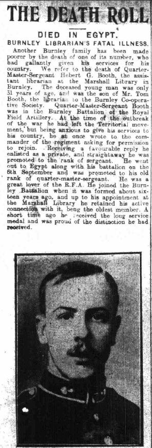 Booth Herbert Gladstone Burnley Express 9 Dec 1914