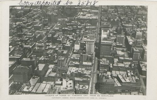 3.8 Looking Up Yonge Street, Toronto, Ont, From and Aeroplane, Canadian Postcard Co, Toronto (hs85 10 35818) (1)