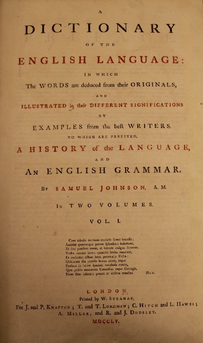 Samuel johnson dictionary titlepage