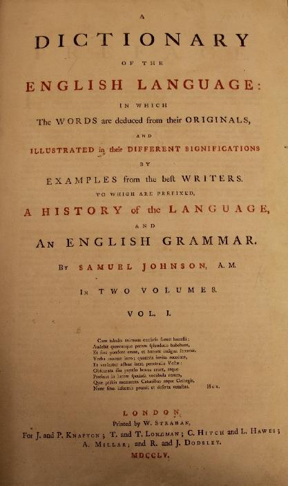 Samuel johnson dictionary titlepage