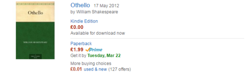 Amazon listing of Othello