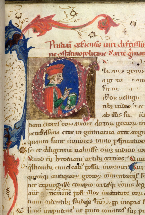 A fifteenth-century depiction of the fifth-century grammarian Priscian, Burney MS 235, f. 4r.