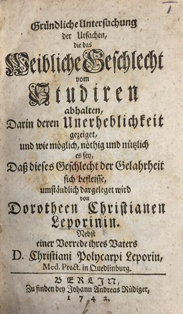 Dorothea Erxleben Gründliche Untersuchung
