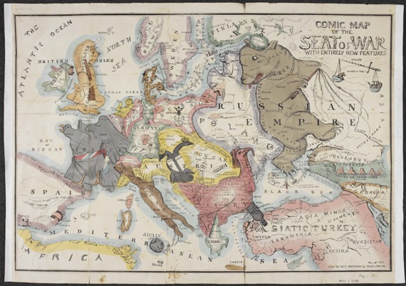 The curious map book maps and views blog thomas onwhyn comic map of the seat of war with entirely new features the crimean war 1854 british library maps x6168 gumiabroncs Image collections