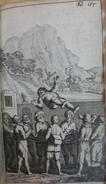 Sancho Panza Is Tossed In A Blanket The Inn Yard Don Quixote Attacks Flock Of Sheep Background Miguel De Cervantes Den Verstandigen Vroomen