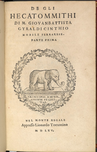 Hecatommithi G.9875 titlepage